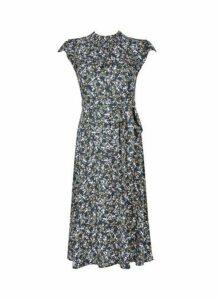Womens **Billie & Blossom Petite Teal Ditsy Print Dress- Green, Green