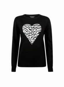 Womens Black Zebra Print Heart Jumper, Black