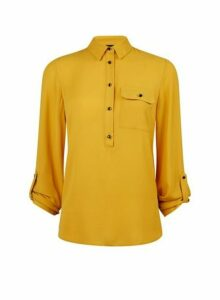 Womens Yellow Roll Sleeve Shirt- Yellow, Yellow