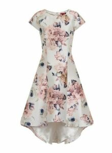 Womens *Chi Chi London White Floral Print Dip Hem Skater Dress- White, White