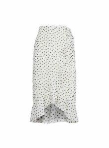 Womens White Spot Print Hanky Hem Skirt, White