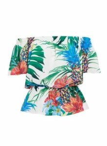 Womens *Quiz Multi Coloured Tropical Print Bardot Top- Multi Colour, Multi Colour