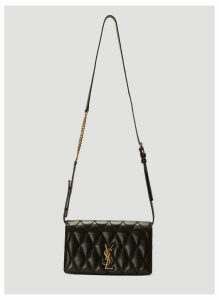 Saint Laurent Angie Leather Chain Bag in Black size One Size