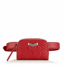 HELIA CAMERA BAG Kameratasche aus Matelassé-Nappaleder in Rot mit geprägtem Stern-Design