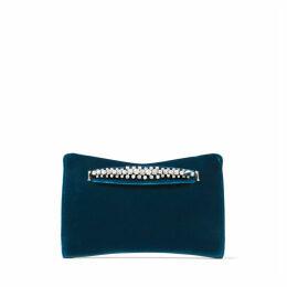 VENUS Clutch aus Samt in dunklem Blaugrün mit Perlenband