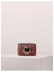 Nicola Snake Embossed Twistlock Small Convertible Chain Shoulder Bag - Cherrywood - One Size