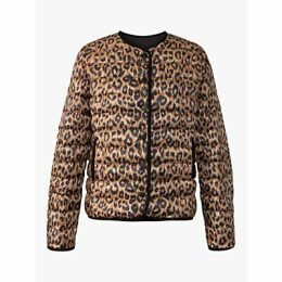 Gerard Darel Pao Leopard Print Quilted Jacket, Brown/Multi
