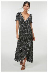 Womens Next Black Floral Wrap Maxi Dress -  Black