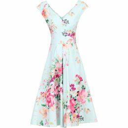 Jolie Moi Floral Print Sweatheart Neck Dress