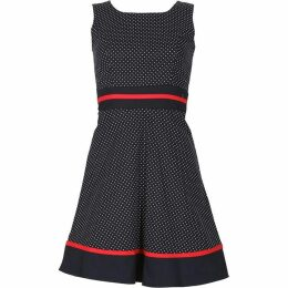 TENKI Polka Dot Red Bordered A-Line Dress