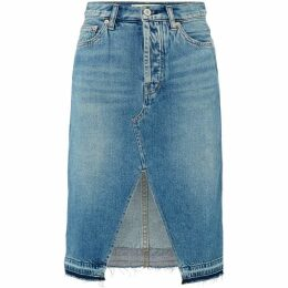 Free People Knee Length Denim Midi Skirt