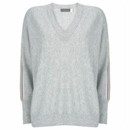 Mint Velvet Grey Side Stripe Batwing Knit