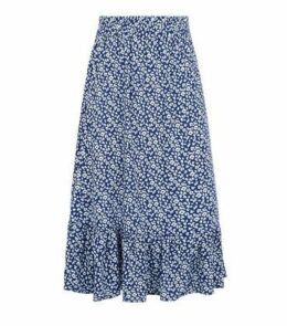 JDY Blue Floral Frill Trim Midi Skirt New Look