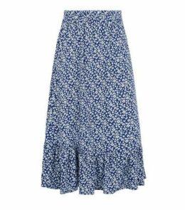 JDY Blue Floral Frill Trim Midi Skirt New Look