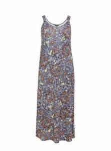 Navy Blue Paisley Print Maxi Dress, Navy