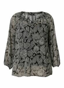 Black Paisley Print Top, Black
