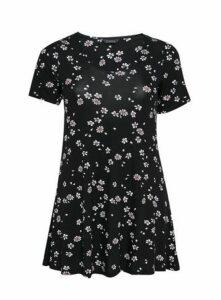 Black Floral Print Swing Tunic, Black