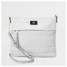 River Island Womens Grey RI stitch messenger bag
