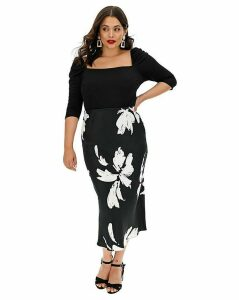 Print Satin Column Midi Skirt