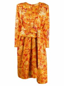 Yves Saint Laurent Pre-Owned lurex detailing floral dress - Orange