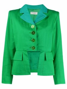 Yves Saint Laurent Pre-Owned 1980's cut-out cropped jacket - Green