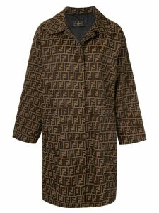 Fendi Pre-Owned Zucca pattern midi coat - Brown