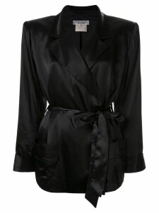 Yves Saint Laurent Pre-Owned silk belted robe blazer - Black