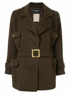 Chanel Pre-Owned flap pockets belted coat - Green