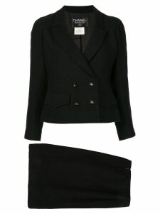 Chanel Pre-Owned double breasted slim skirt suit - Black