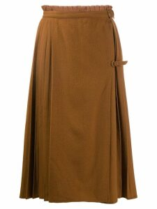 Versace Pre-Owned 1980's pleated detail skirt - NEUTRALS