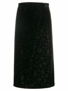 Valentino Pre-Owned 1980's floral jacquard pencil skirt - Black