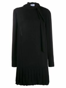 Prada Pre-Owned 1990's pussy bow pleated dress - Black