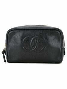 Chanel Pre-Owned CHANEL CC Logos Cosmetic Pouch - Black