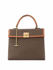 Céline Pre-Owned Macadam Pattern Logo Plate Handbag - Brown