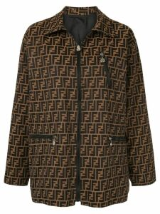Fendi Pre-Owned monogram zipped coat - Brown