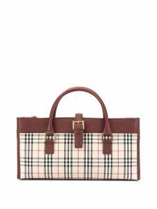 Burberry Pre-Owned checked contrast trim handbag - Red