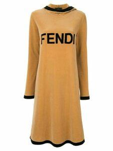 Fendi Pre-Owned velvet logo midi dress - Brown