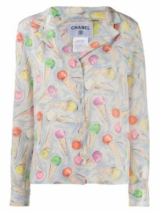 Chanel Pre-Owned ice cream printed shirt - Blue