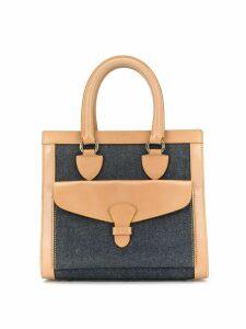 Christian Dior Pre-Owned flap detail denim tote - Black