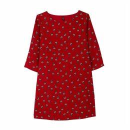 Plain Straight Knee-Length Dress with Long Sleeves
