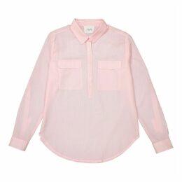 Plain Long-Sleeved Blouse with Polo Shirt Collar
