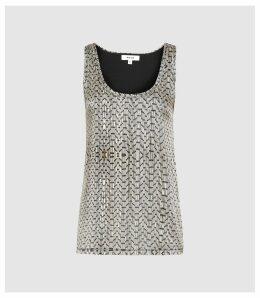 Reiss Remey - Bead Print Sleeveless Top in Cream, Womens, Size XL