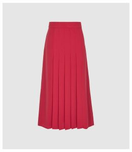 Reiss Cleona - Box Pleated Midi Skirt in Magenta, Womens, Size 14