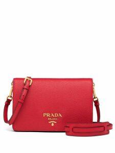 Prada logo plaque shoulder bag - Red