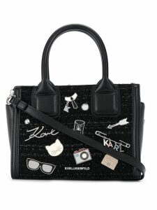 Karl Lagerfeld K/Klassik Pins tweed small tote - Black