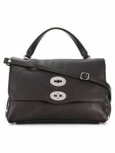 Zanellato foldover satchel with silver-tone hardware details - Brown