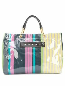 Marni large striped tote bag - Blue