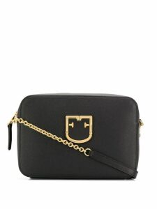 Furla logo plaque shoulder bag - Black
