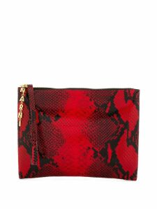 Marni python-effect leather clutch bag - Red