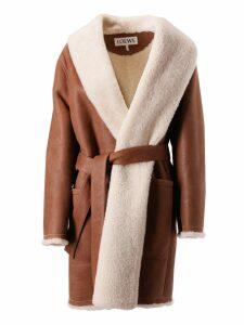 Loewe Fur Trim Belted Coat